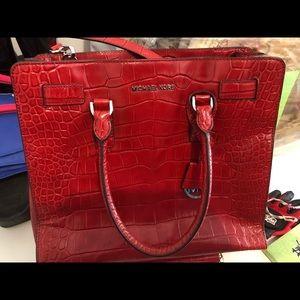Michael Kors red leather croc handbag